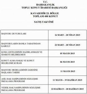 TOKİ Kayaşehir 23. Bölge takvimi
