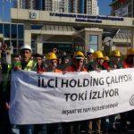 Ücretlerini alamayan işçiler TOKİ önünde eylem yaptı
