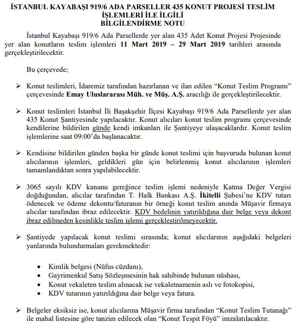 Başakşehir Kayaşehir TOKİ Evleri teslimleri 11 Mart 2019'da!